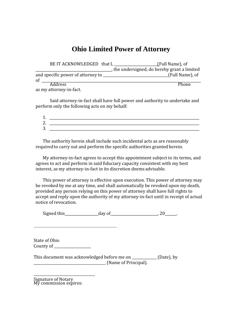 Free ohio limited power of attorney form pdf word for Full power of attorney template