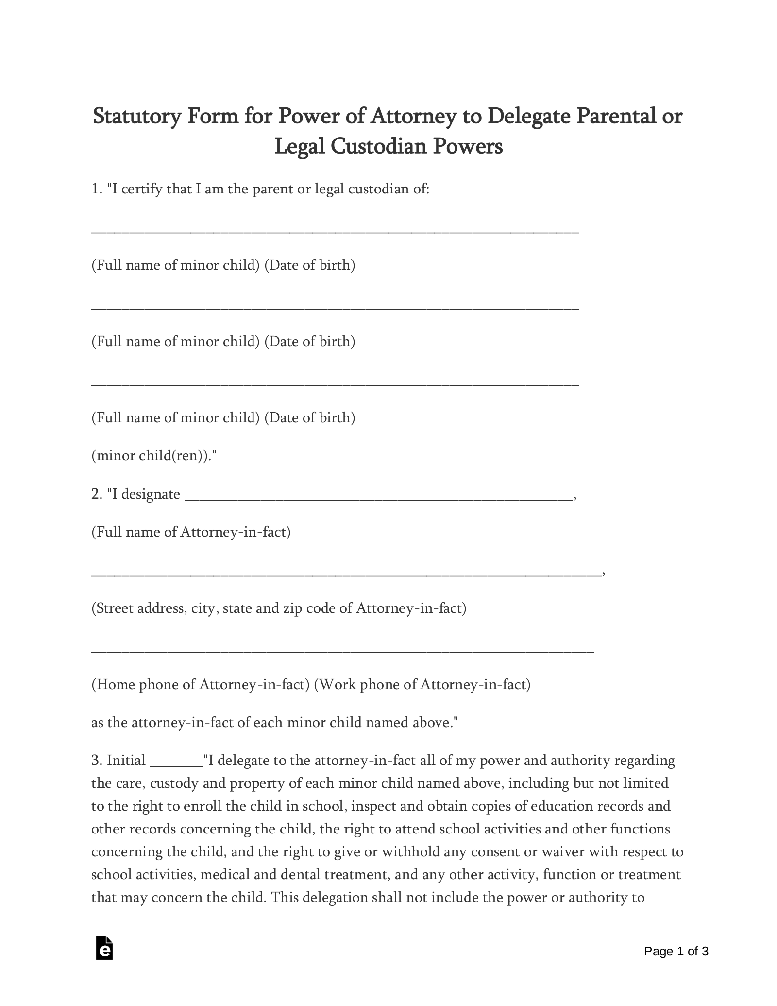 relinquish power of attorney form  Free Oklahoma Minor Child (Parental) Power of Attorney Form ...