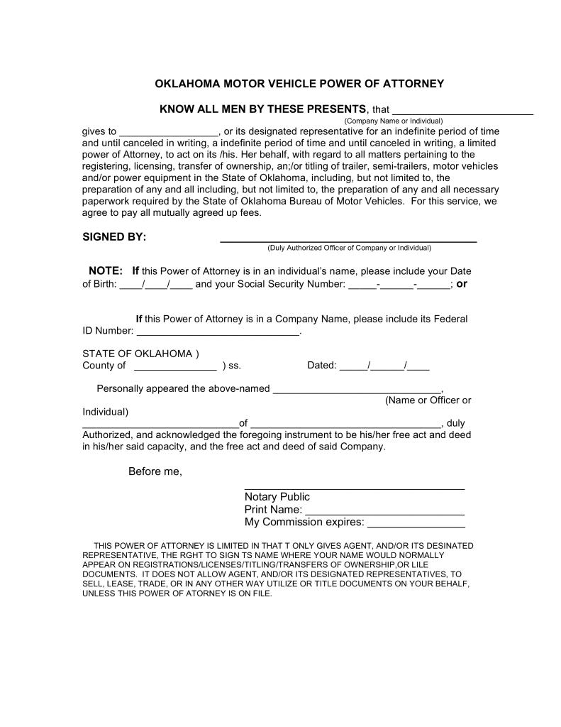 Free Oklahoma Motor Vehicle Power of Attorney Form - PDF | eForms ...