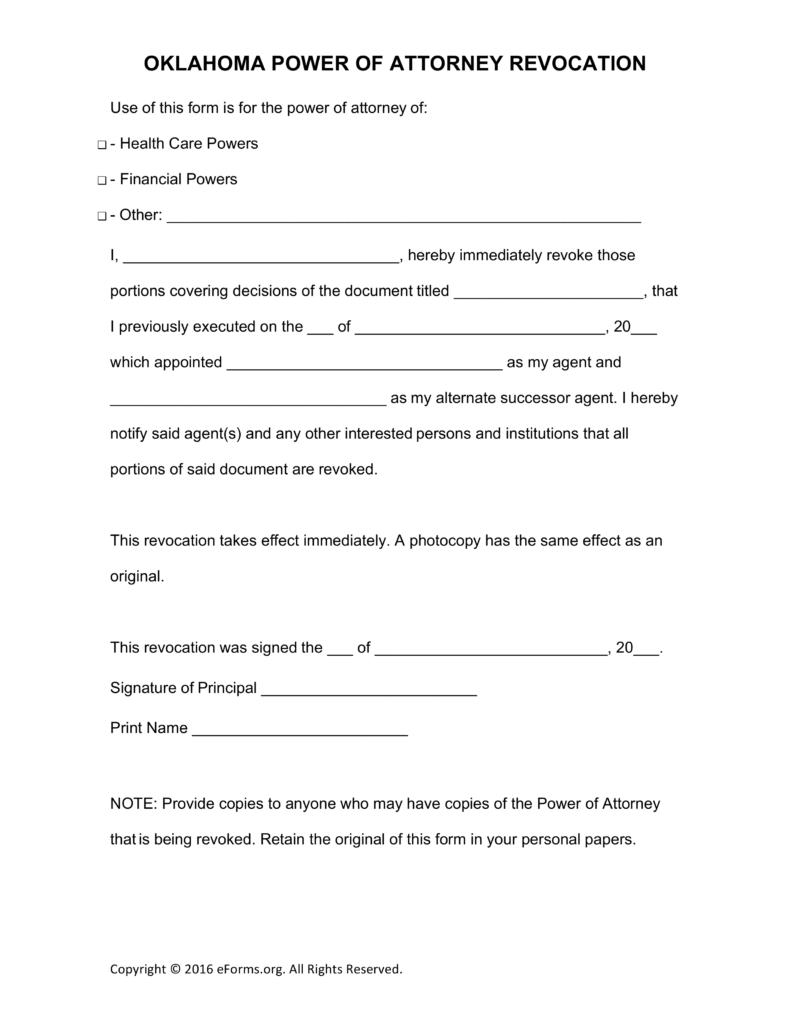 Free Oklahoma Revocation of Power of Attorney Form - PDF | Word ...