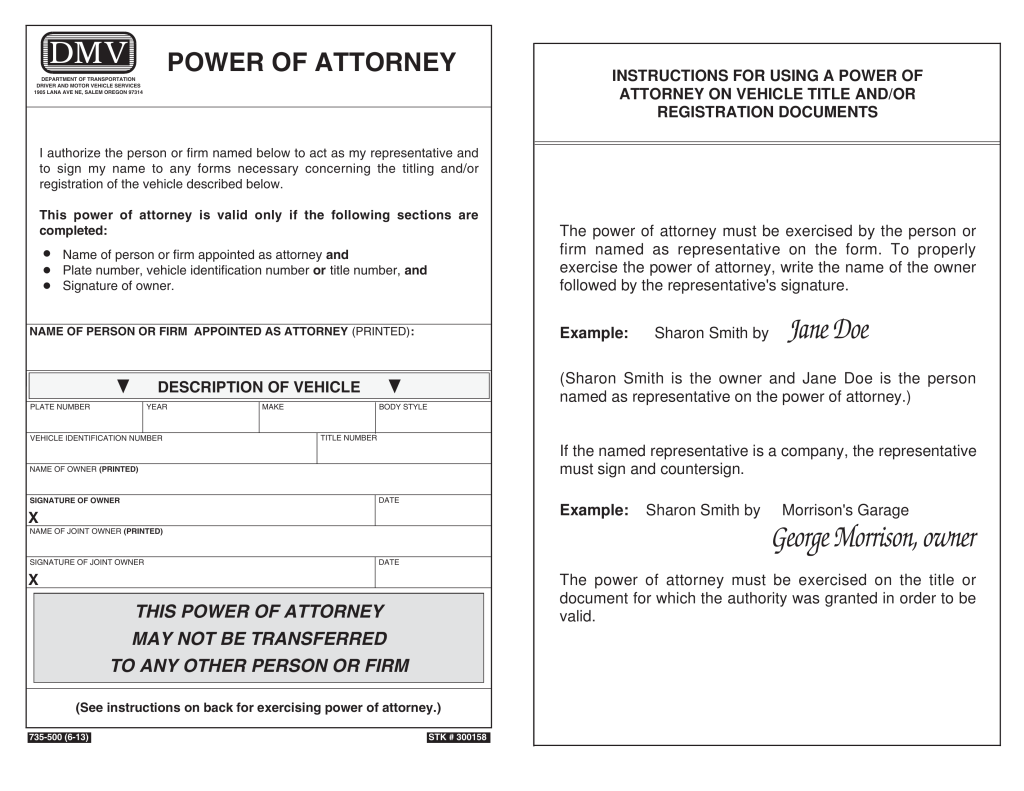 Oregon motor vehicle power of attorney form 735 500 for Power of attorney for motor vehicle only