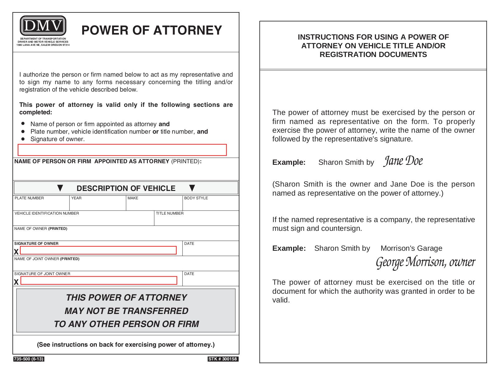 power of attorney form dmv  Oregon Motor Vehicle Power of Attorney (Form 12-12 ...