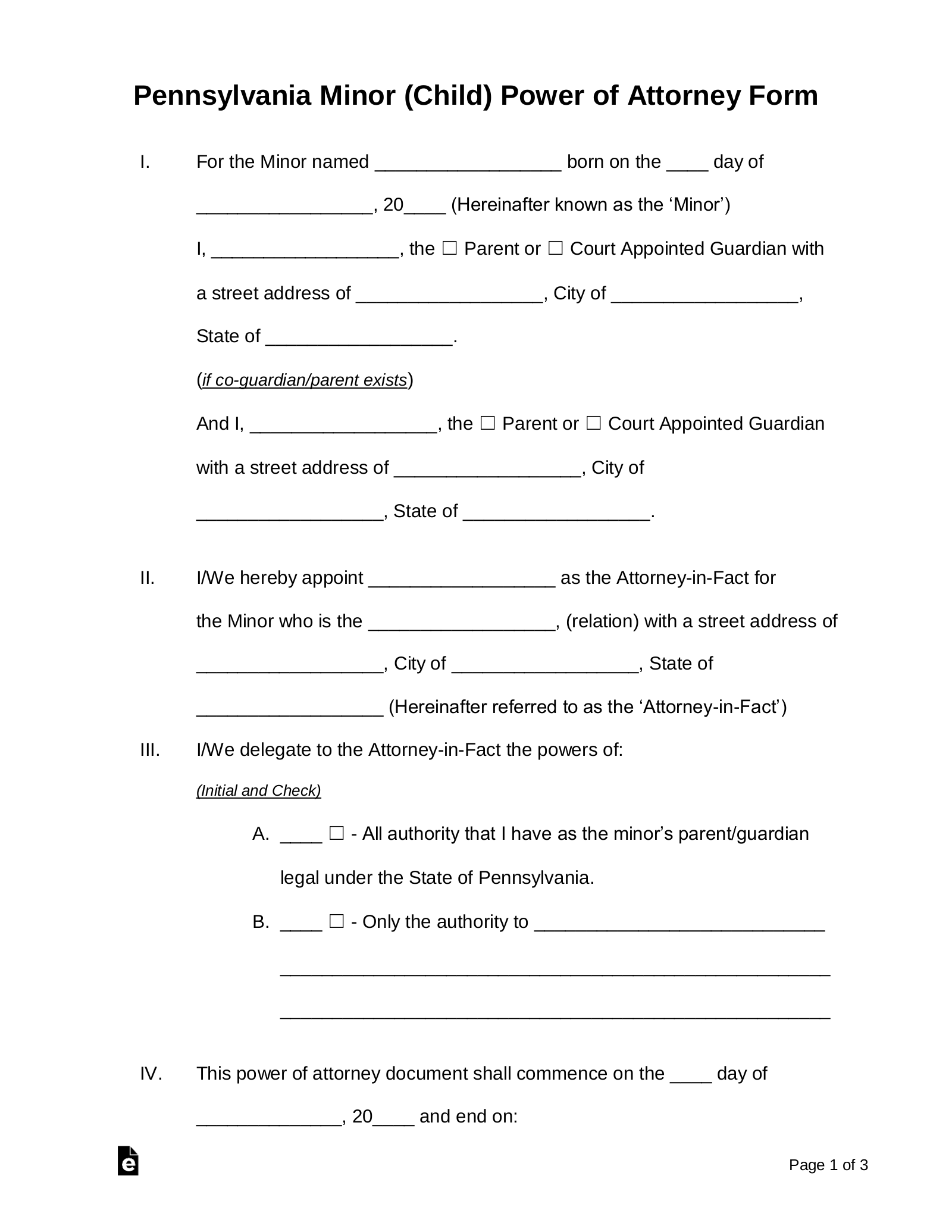 Temporary Guardianship Letter For Grandparents from eforms.com