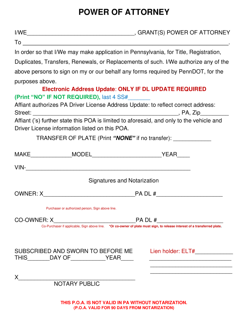 Free Pennsylvania Motor Vehicle Power of Attorney Form - Word ...