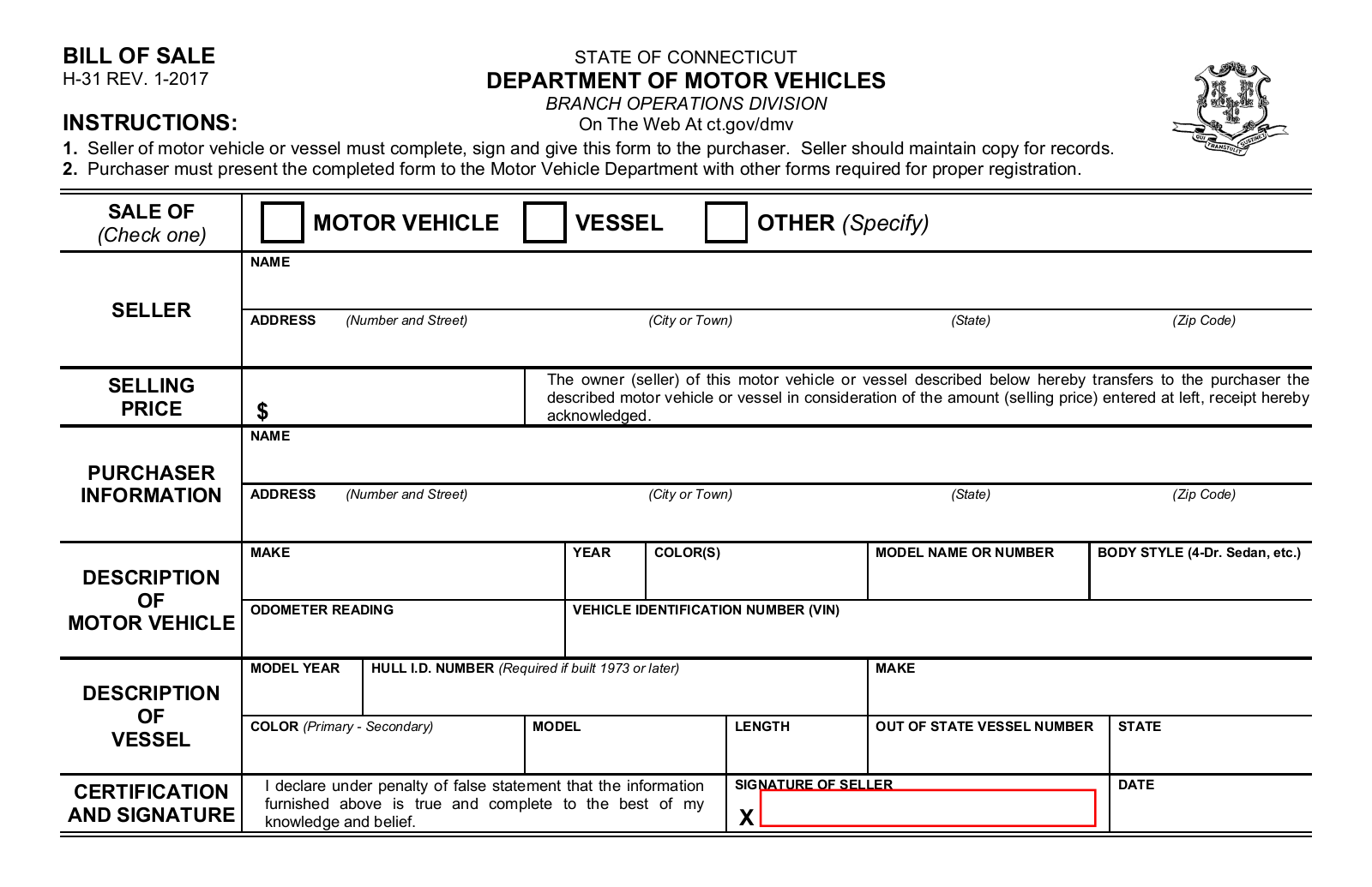 Bill Of Sale Nevada >> Connecticut Vehicle/Vessel Bill of Sale   Form H-31   eForms – Free Fillable Forms