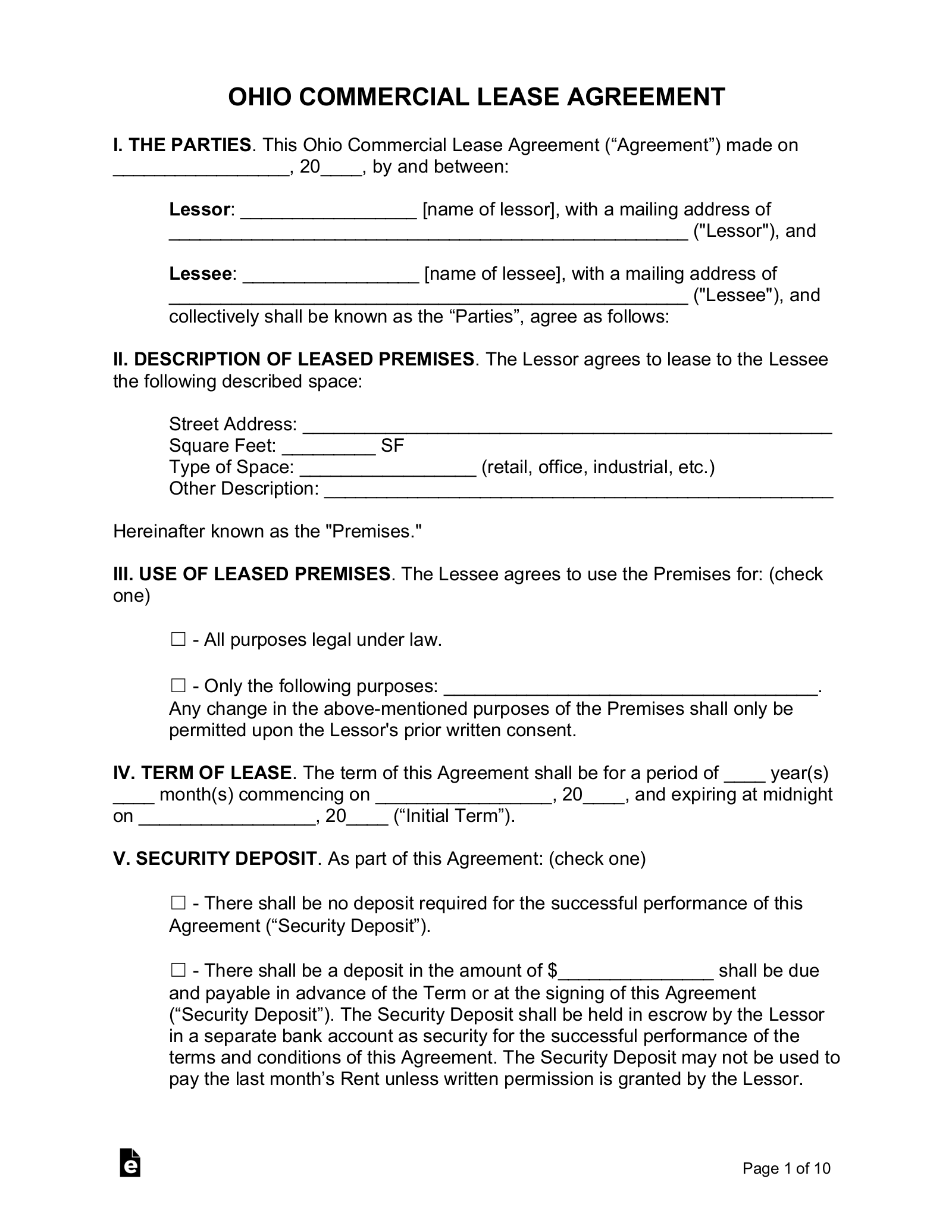 Free Ohio Commercial Lease Agreement Template Pdf Word