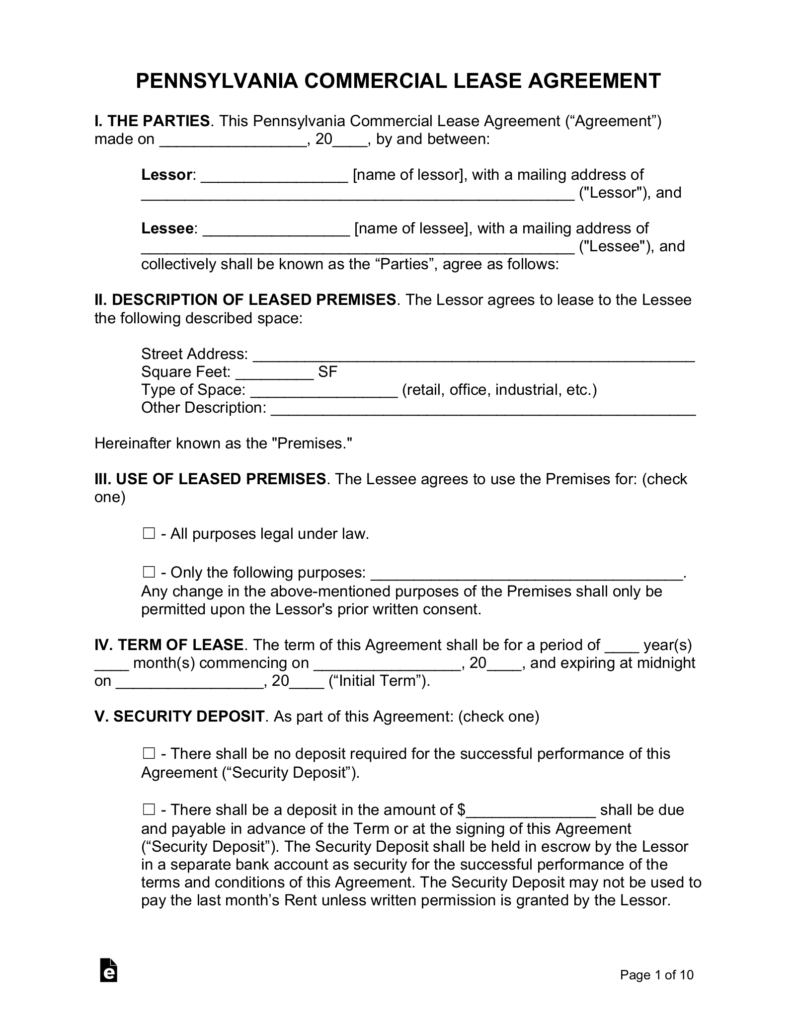 Free Pennsylvania Commercial Lease Agreement Template Pdf