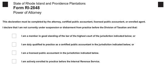 Rhode Island Tax Power Of Attorney Form Ri 2848 Eforms Free