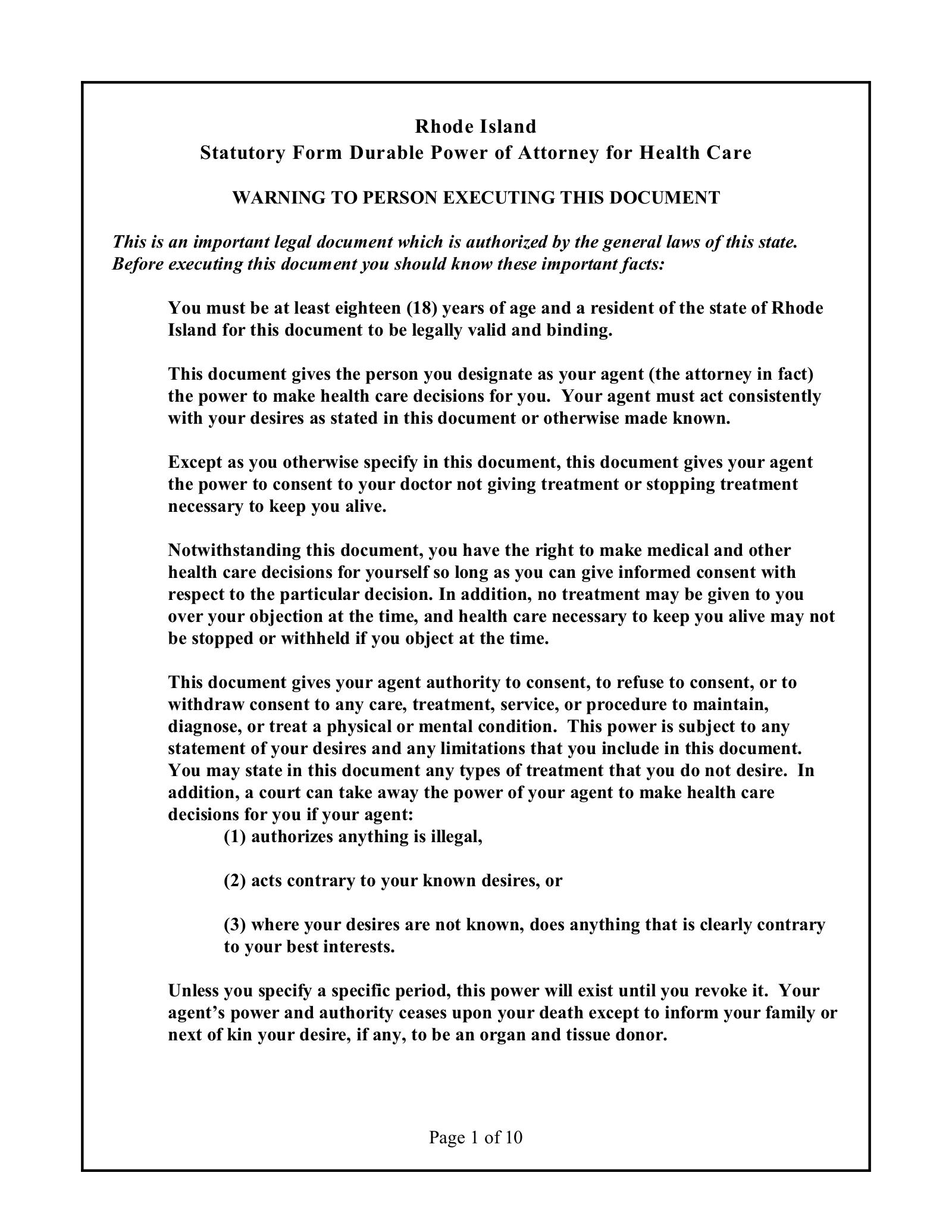 Free Rhode Island Advance Directive (Health Care) Power of