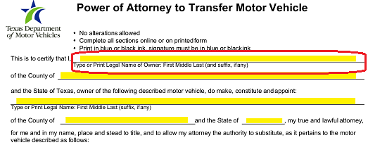 "Continue reporting on the Texas Vehicle Owner by supplying the County where he or she lives on the line following the phrase ""…"