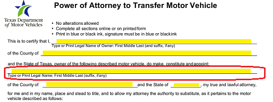 Texas Motor Vehicle Power Of Attorney Form Vtr 271 Eforms Free