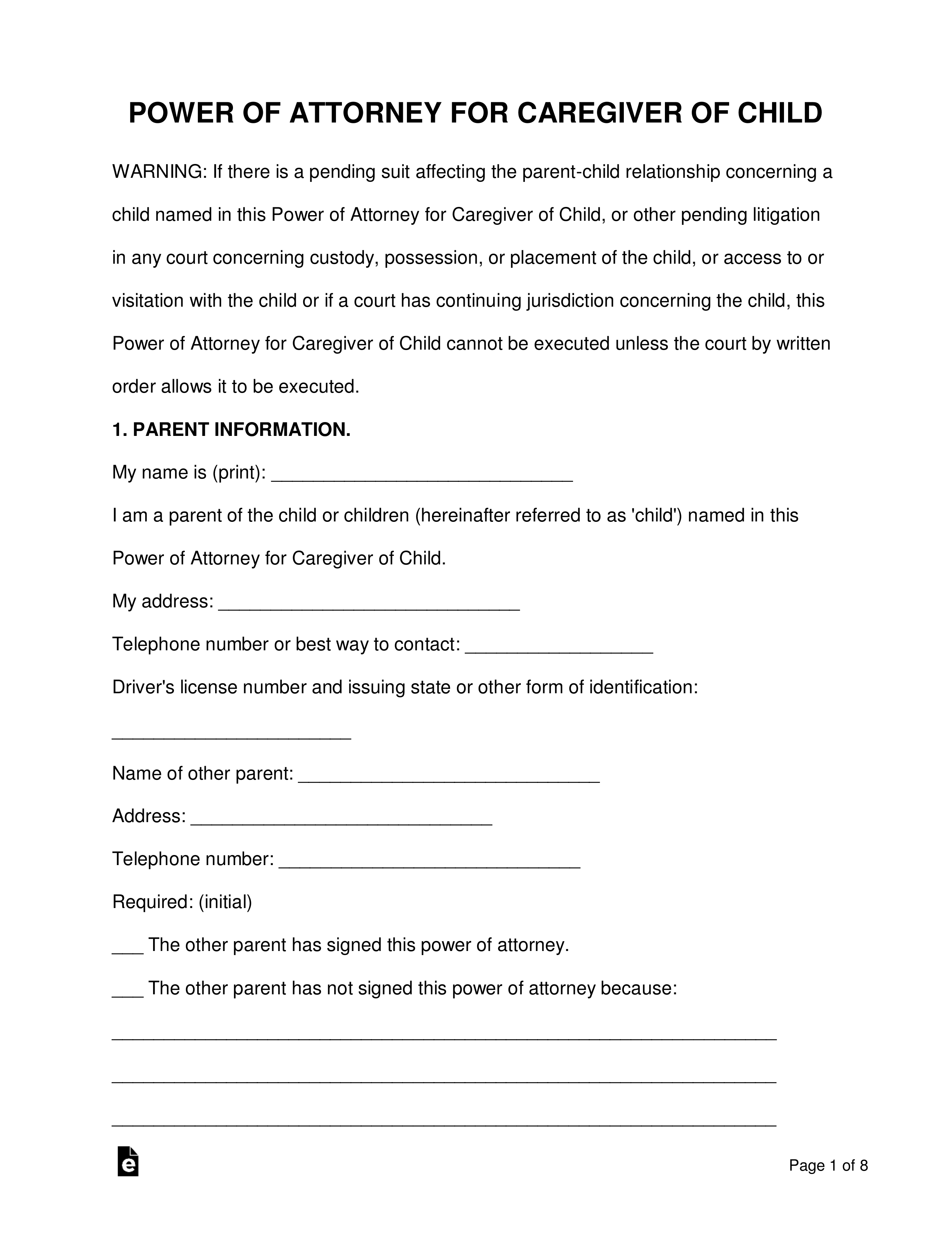 Free Texas Minor Child Power Of Attorney Form Word Pdf