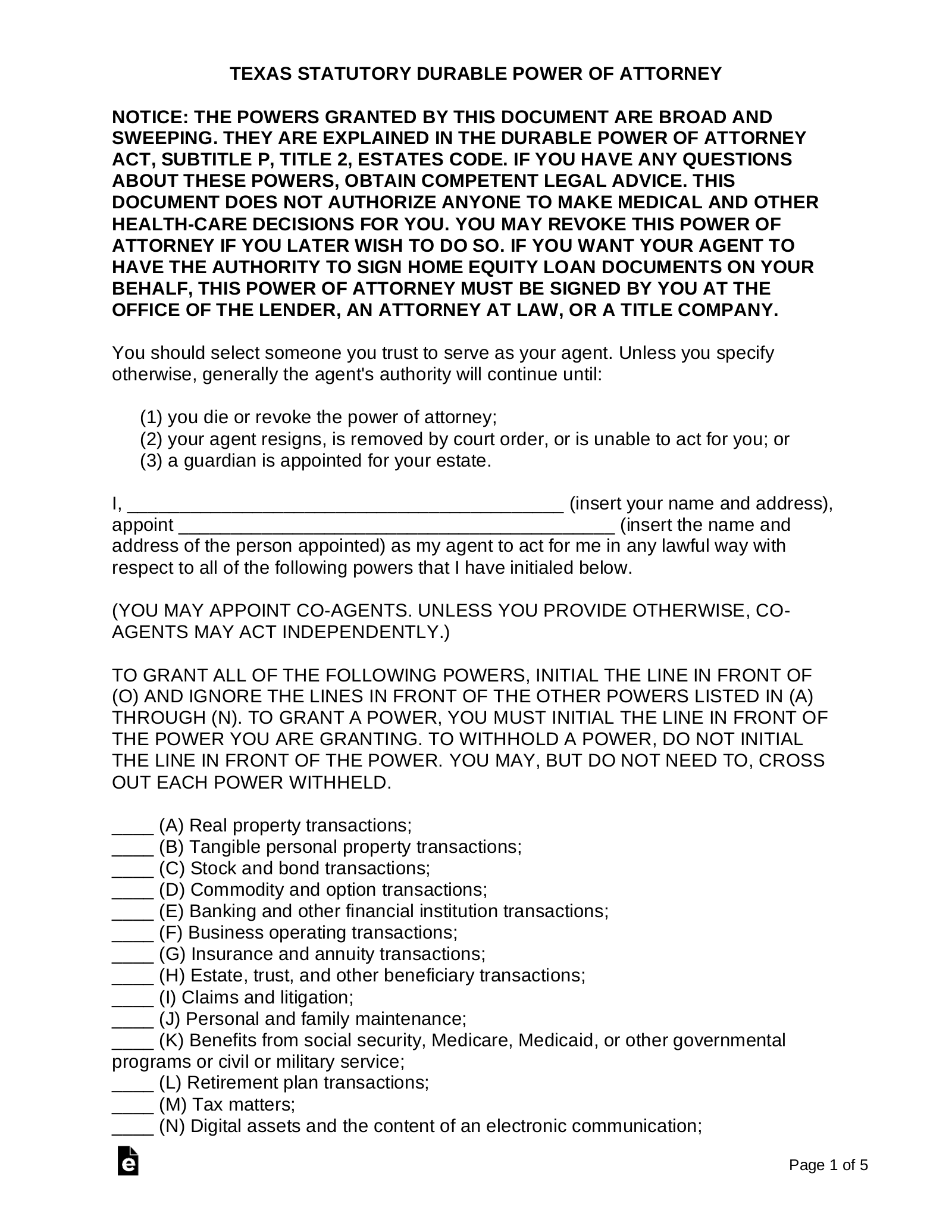 power of attorney form texas  Free Texas Power of Attorney Forms - Word | PDF | eForms ...