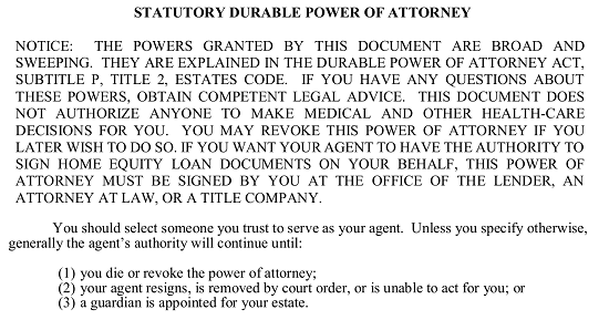 Free Texas Durable (Statutory) Power of Attorney Form - Word