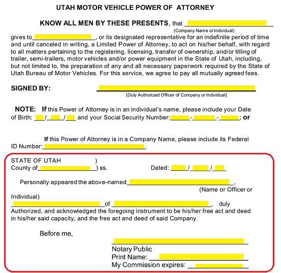 Free Utah Motor Vehicle Power Of Attorney Form