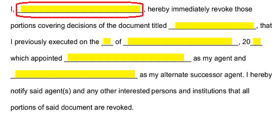the first available blank line in the body will call for the full name of the principal as it is recorded on the original power document to be displayed