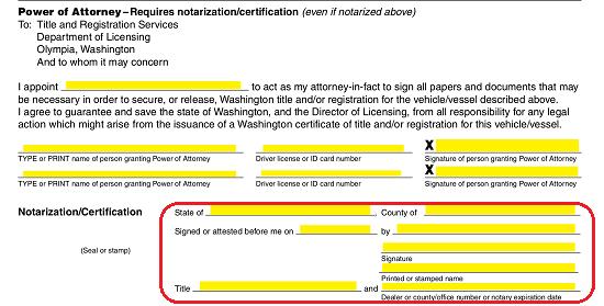 Free Washington Motor Vehicle Power of Attorney Form - PDF