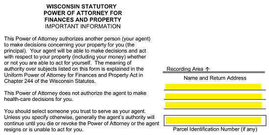 free wisconsin power of attorney forms - word |  | eforms – free ...