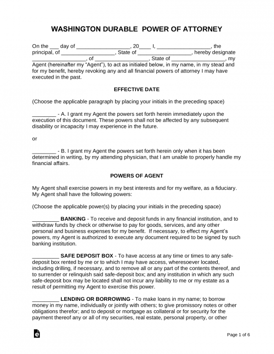 Sample Of Power Of Attorney Letter from eforms.com