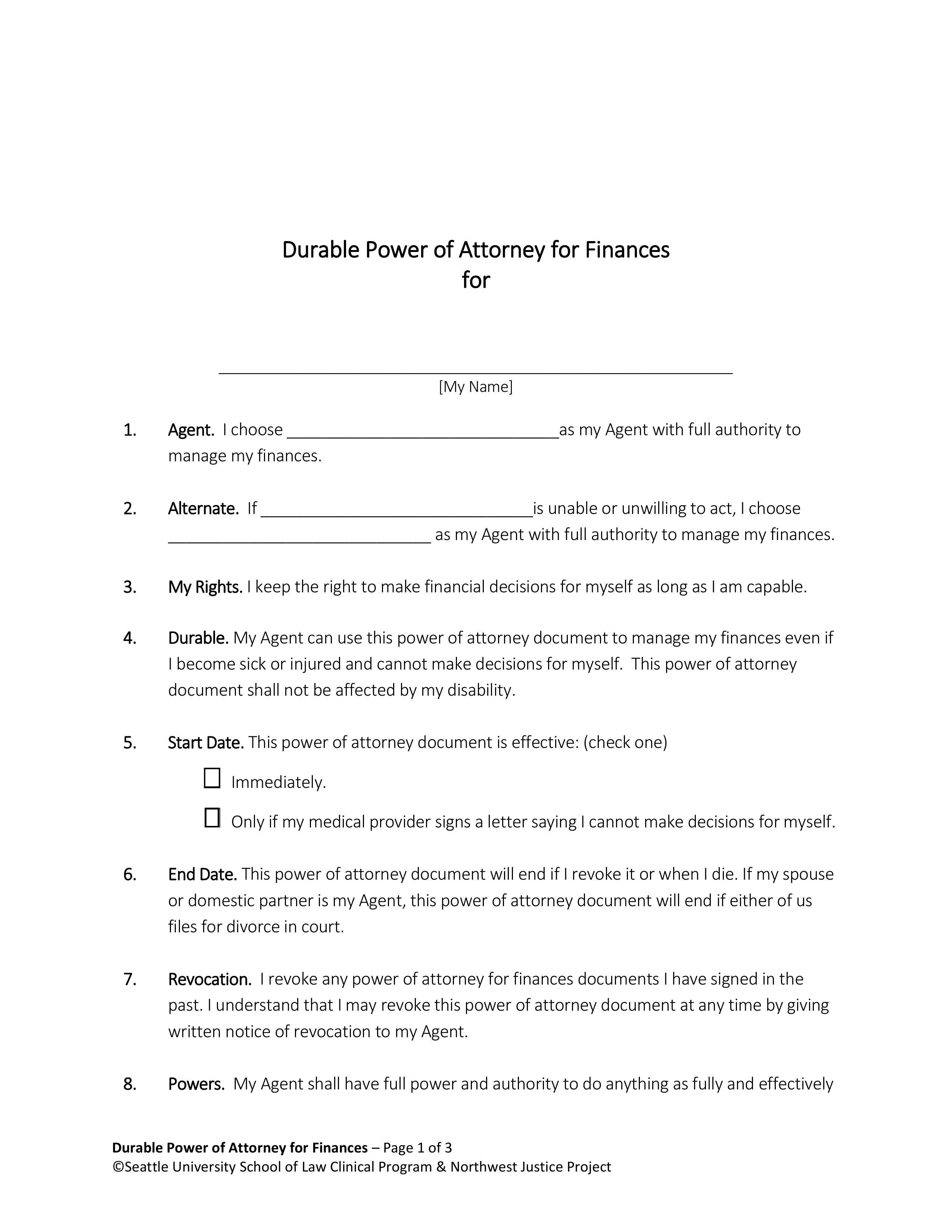 power of attorney form washington state  Free Washington Power of Attorney Forms - PDF | eForms ...