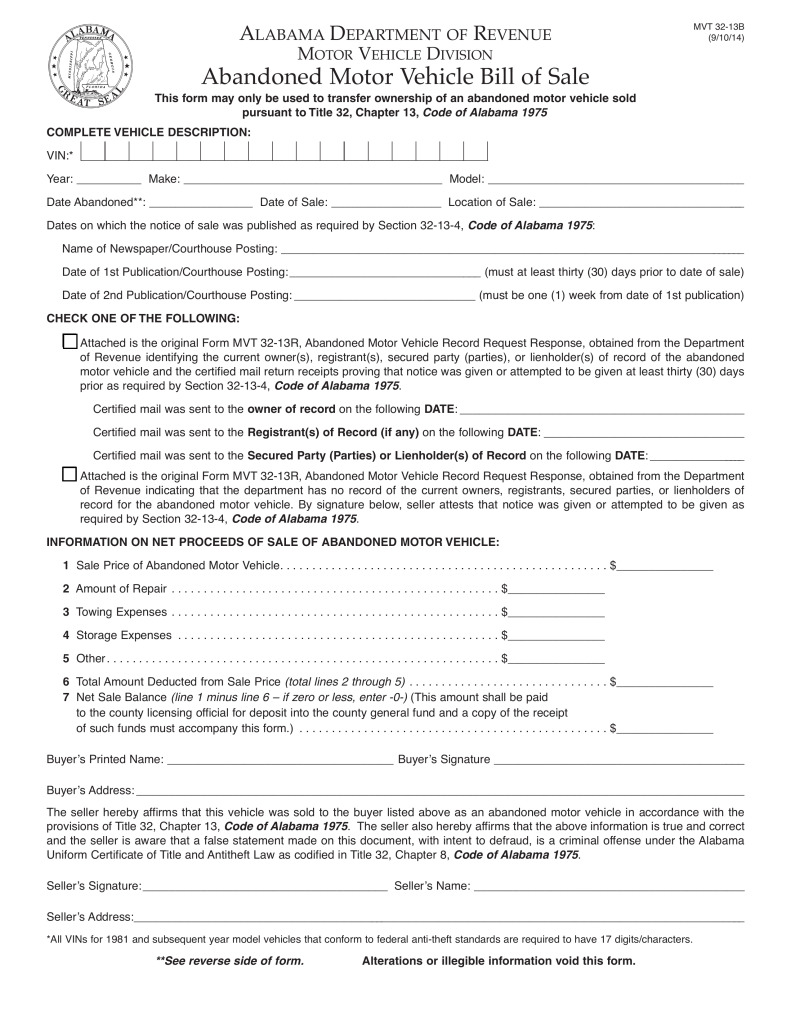 alabama abandoned motor vehicle bill of sale form