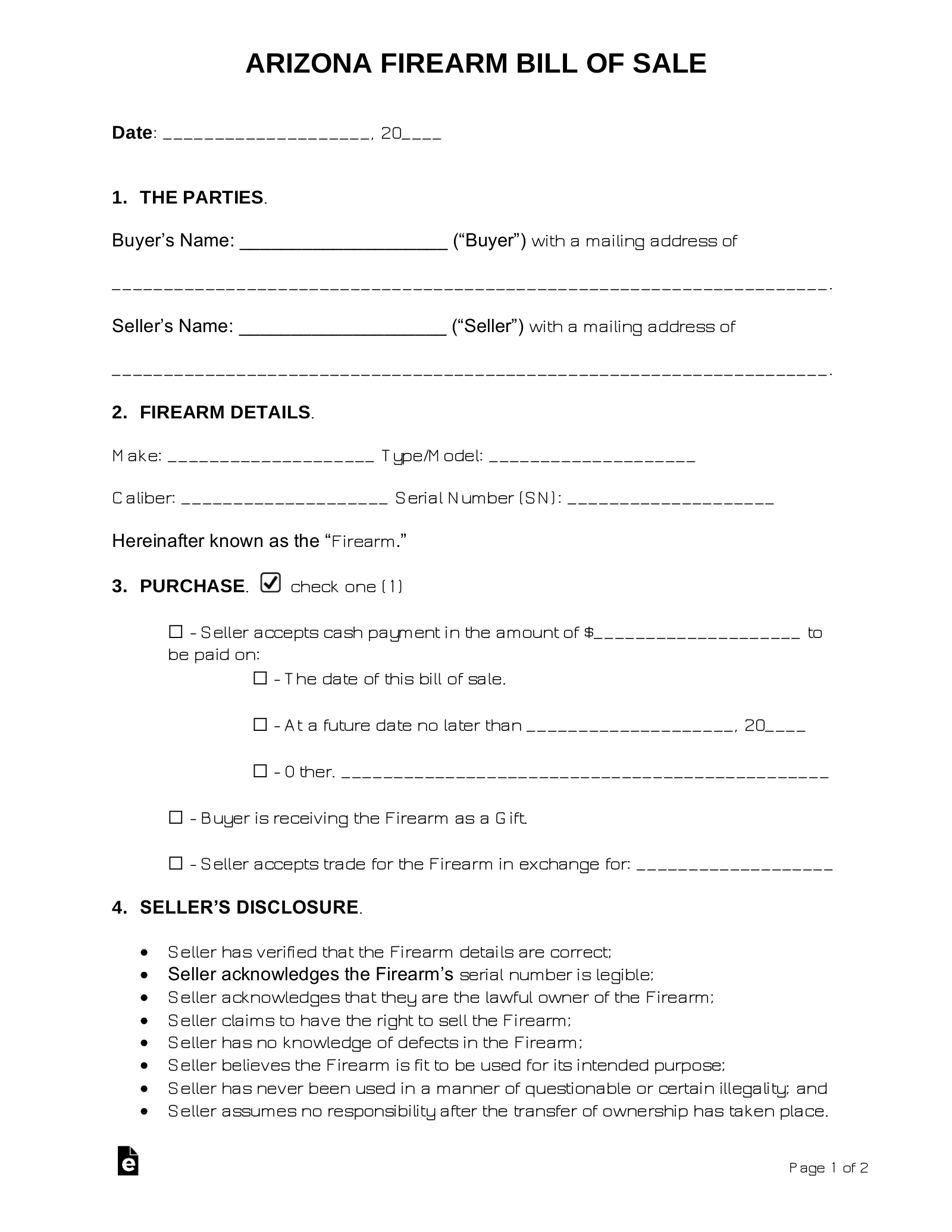 Free Arizona Firearm Bill Of Sale Form Word Pdf