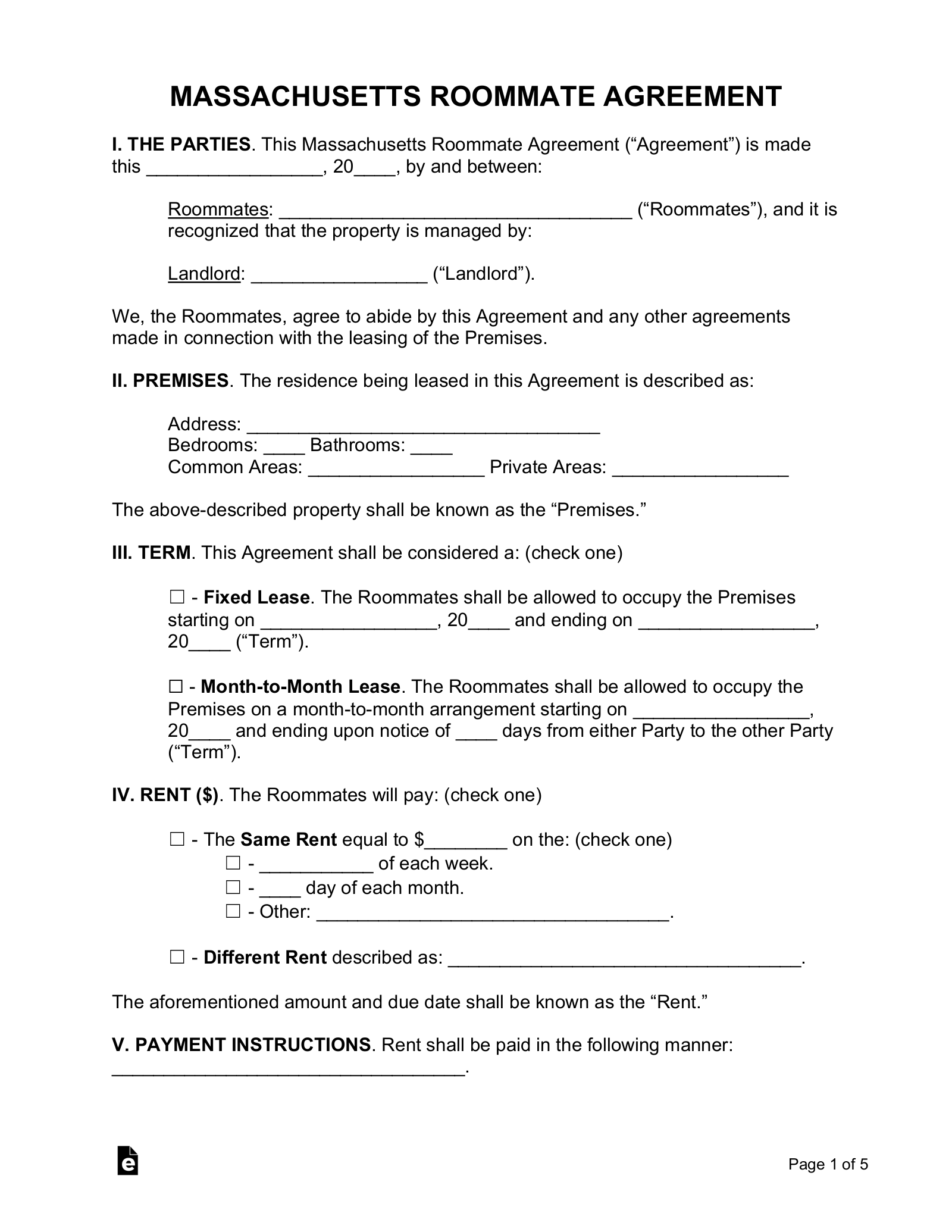Free Massachusetts Roommate Agreement Form Pdf Eforms