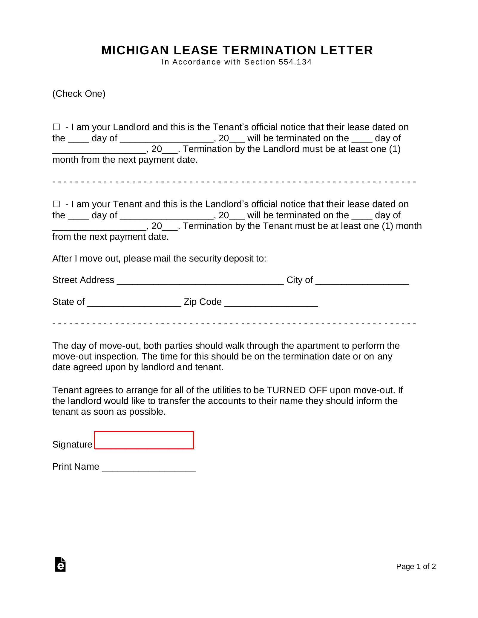 Michigan Lease Termination Letter Form 30 Day Notice