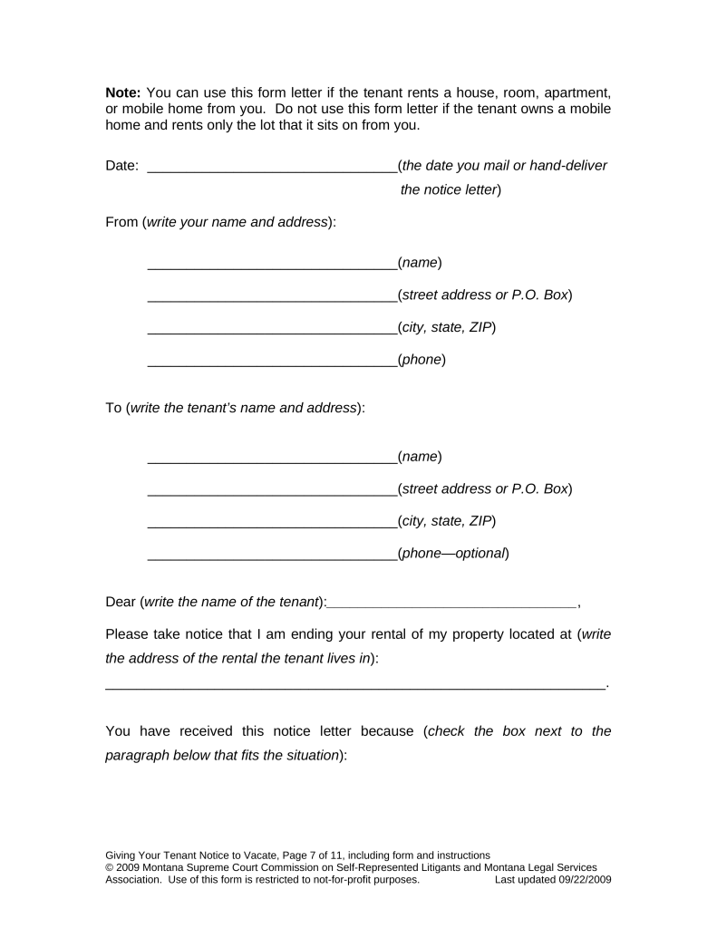 Free Montana Eviction Notice Forms – Free Eviction Letter Template