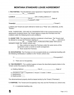 Free montana standard residential lease agreement template for Uniform spaces pdf
