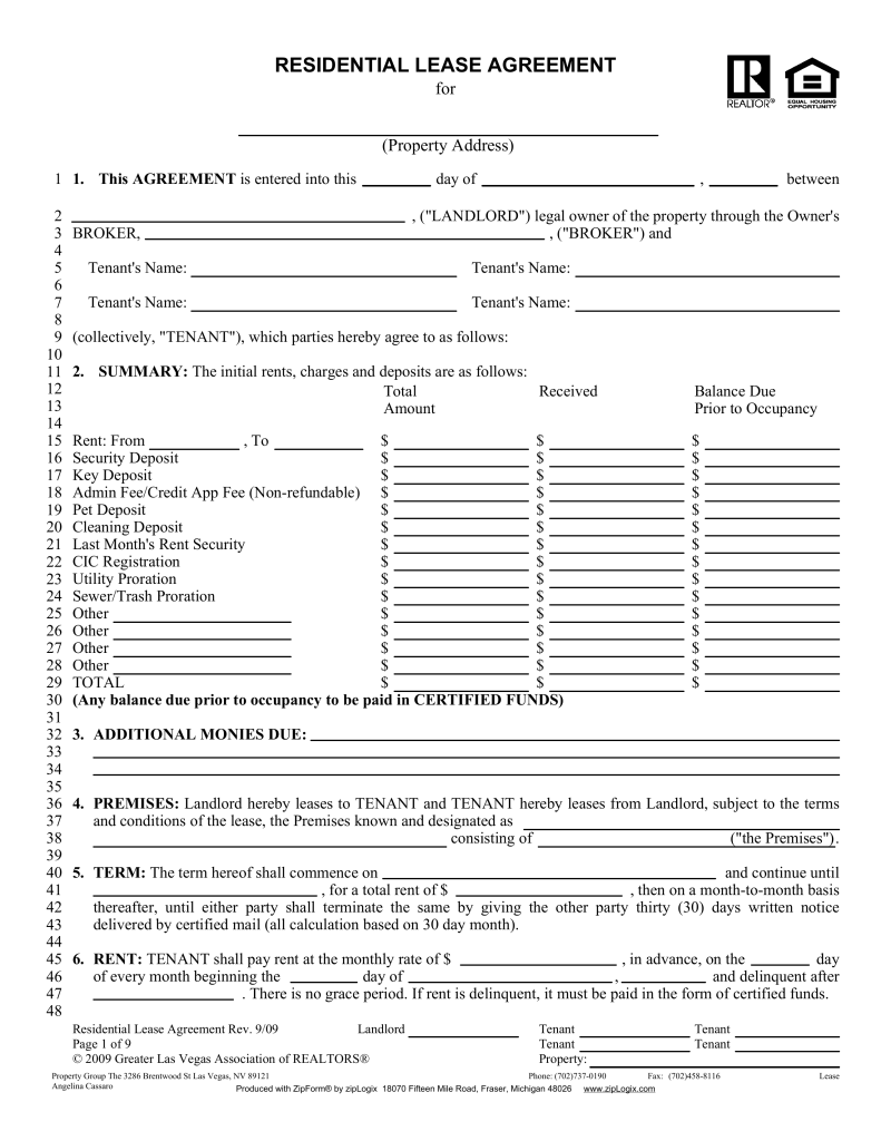 nevada lease agreement Free Nevada Association of Realtors Residential Lease Agreement ...