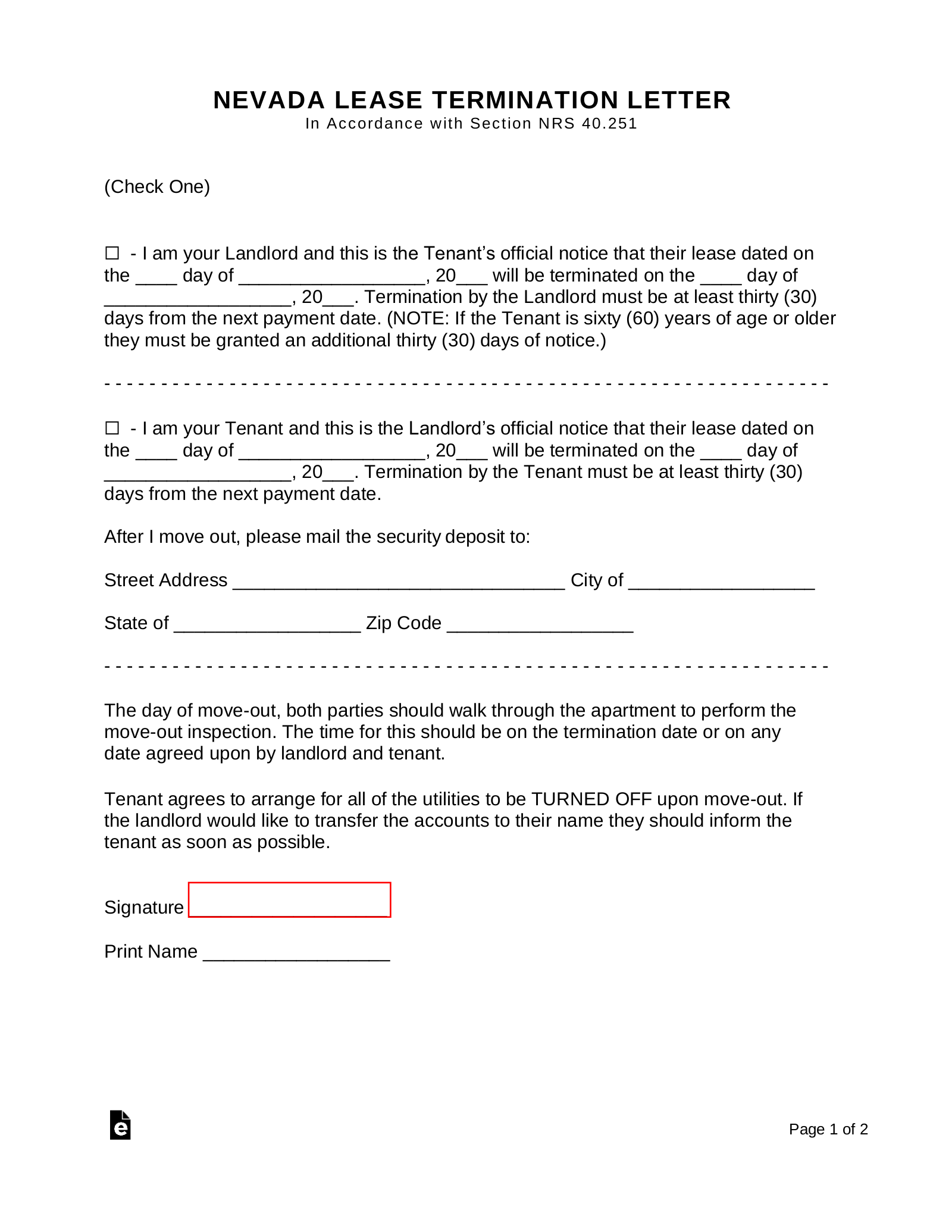 Nevada Lease Termination Letter   30 Day Notice – eForms