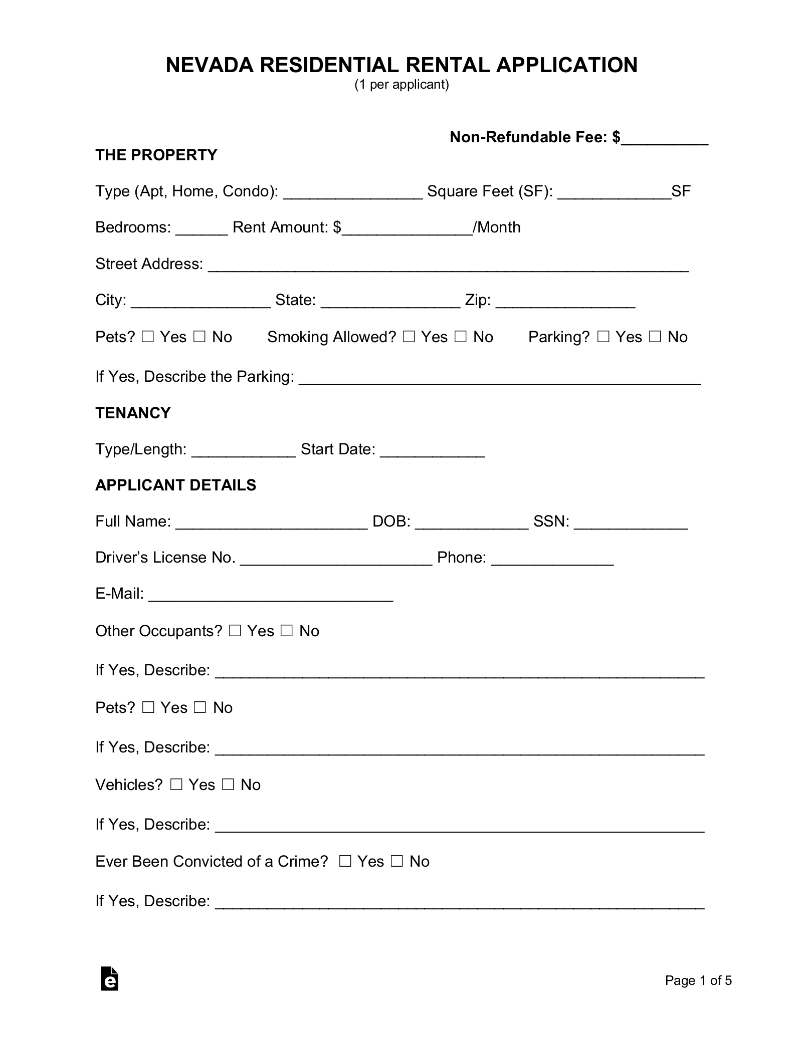 Free Nevada Rental Application Form Pdf Eforms Free