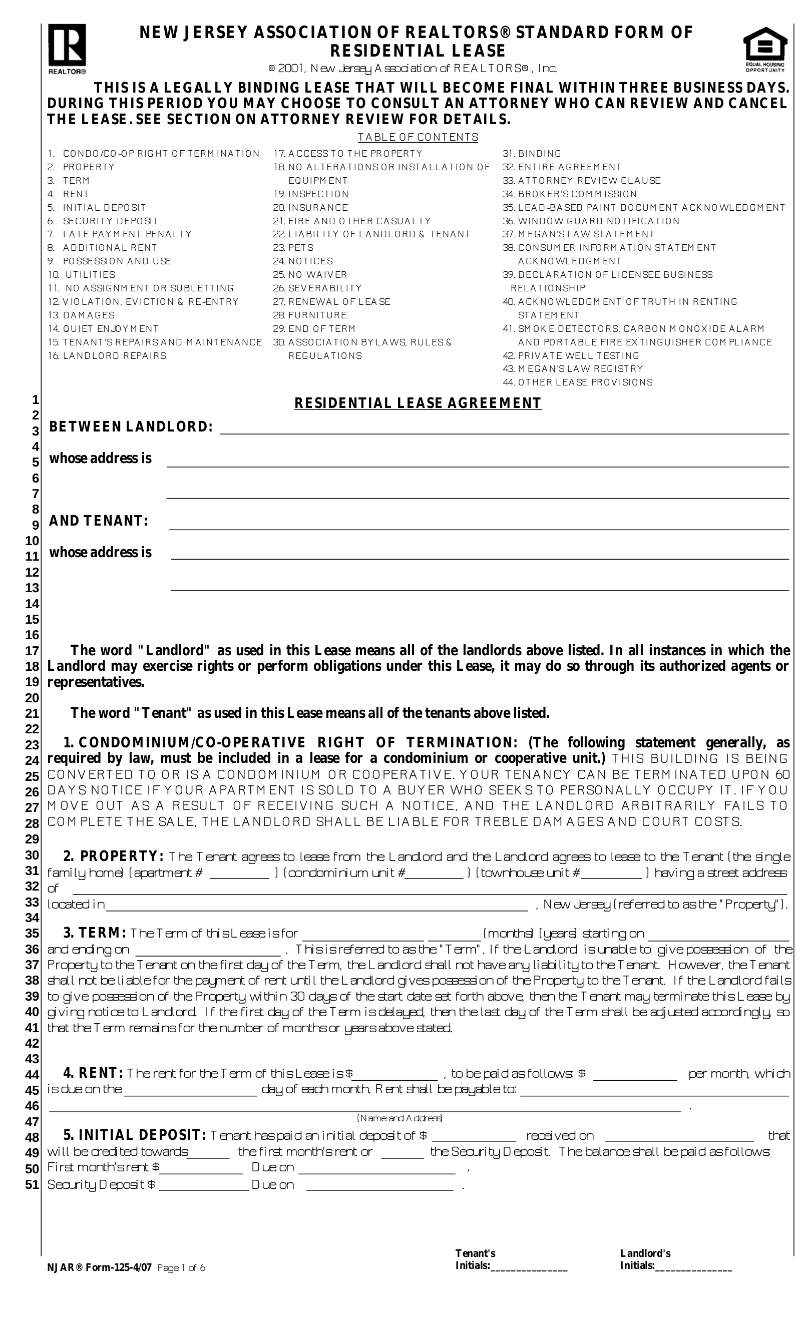 Free New Jersey Association Of Realtors Lease Agreement Form