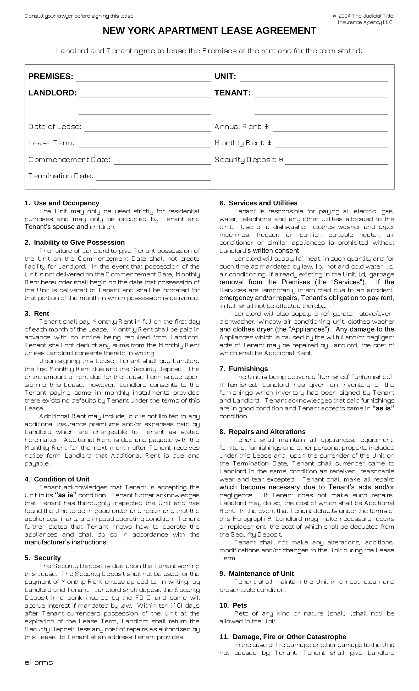 Free New York Standard Apartment Lease Agreement Form Pdf