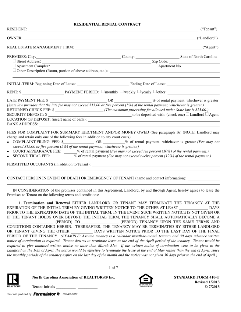 North Carolina Realtors Residential Lease Agreement Form