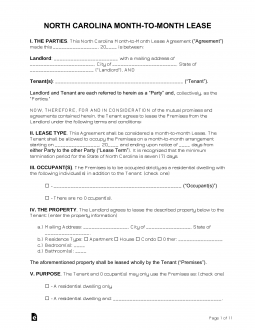 North Carolina Month To Month Rental Agreement Template