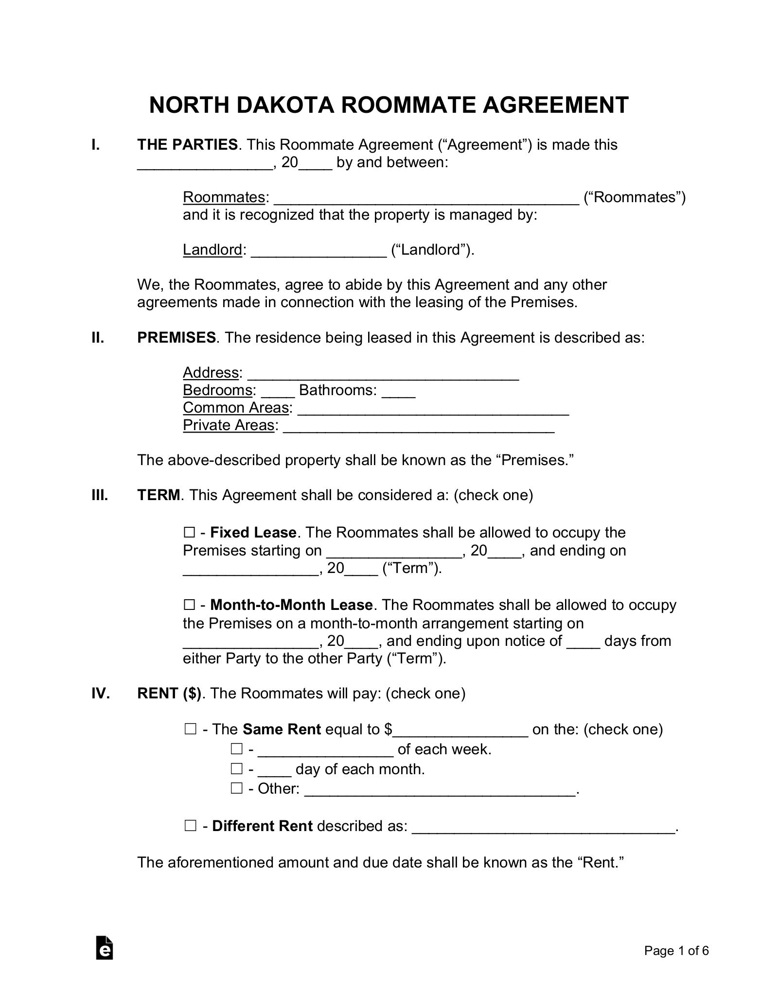 Free North Dakota Room Rental Agreement Form Pdf Word