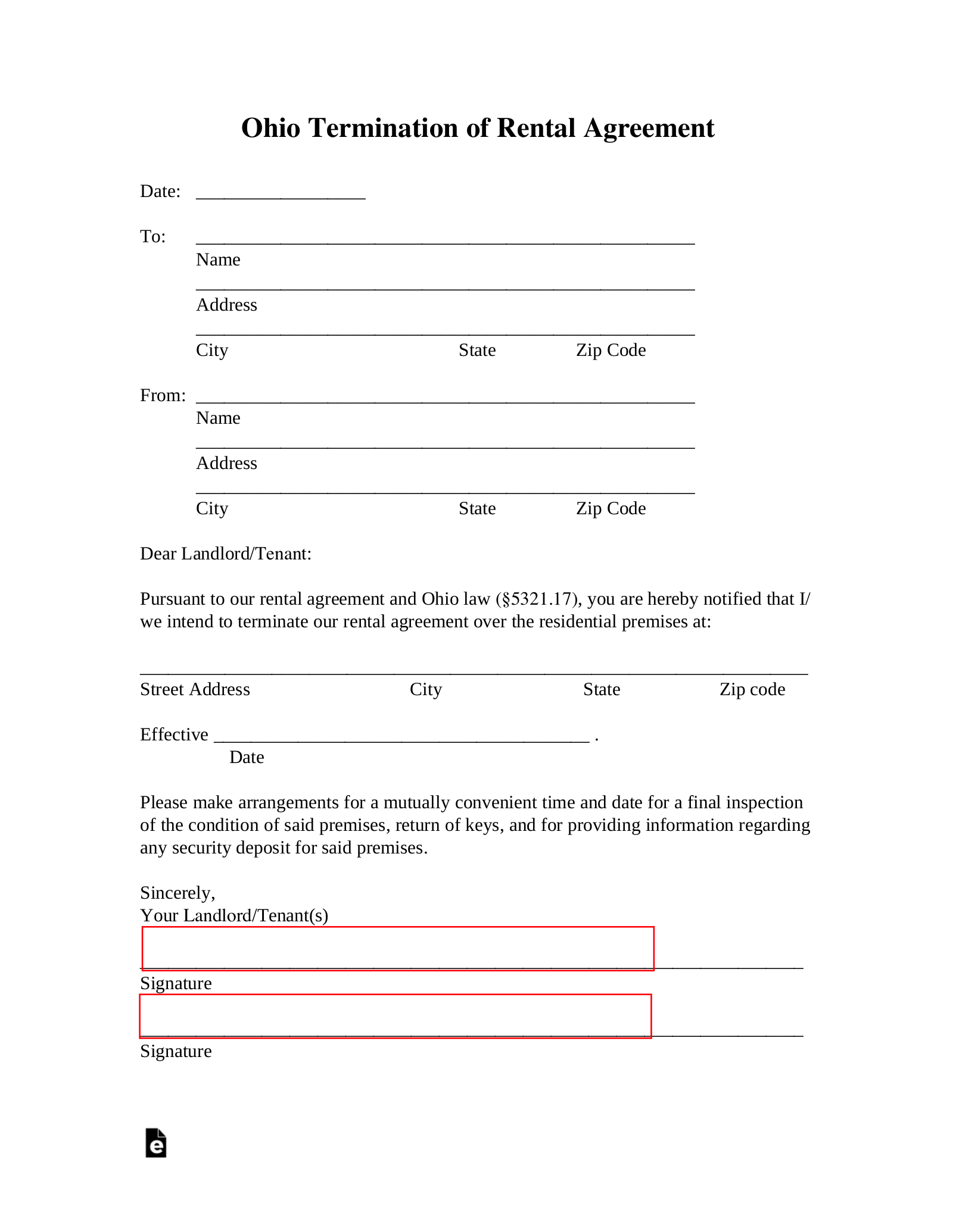 Ohio Lease Termination Letter Form 30 Day Notice Eforms