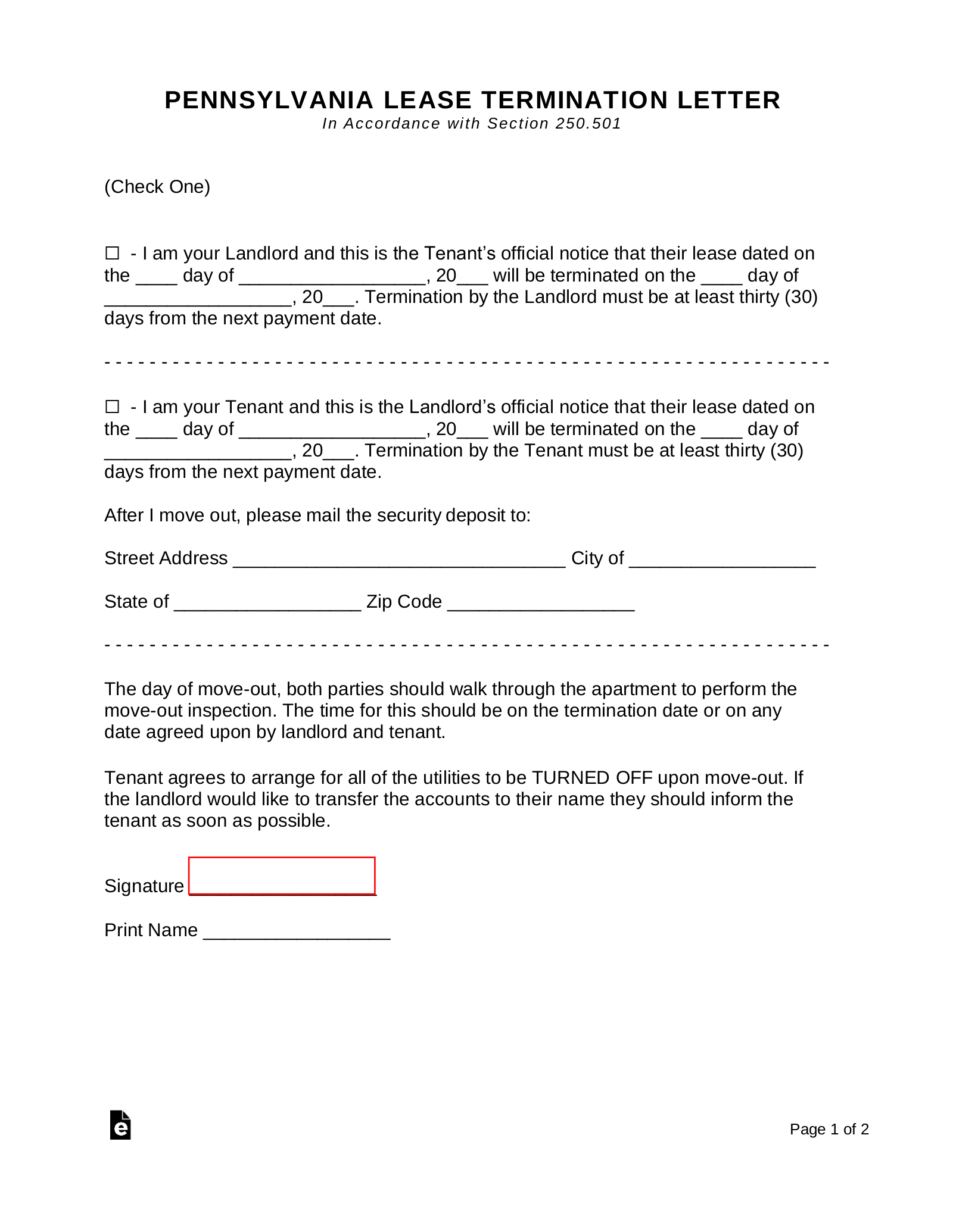 Early Lease Termination Letter >> Free Pennsylvania Lease Termination Letter Form 30 Days