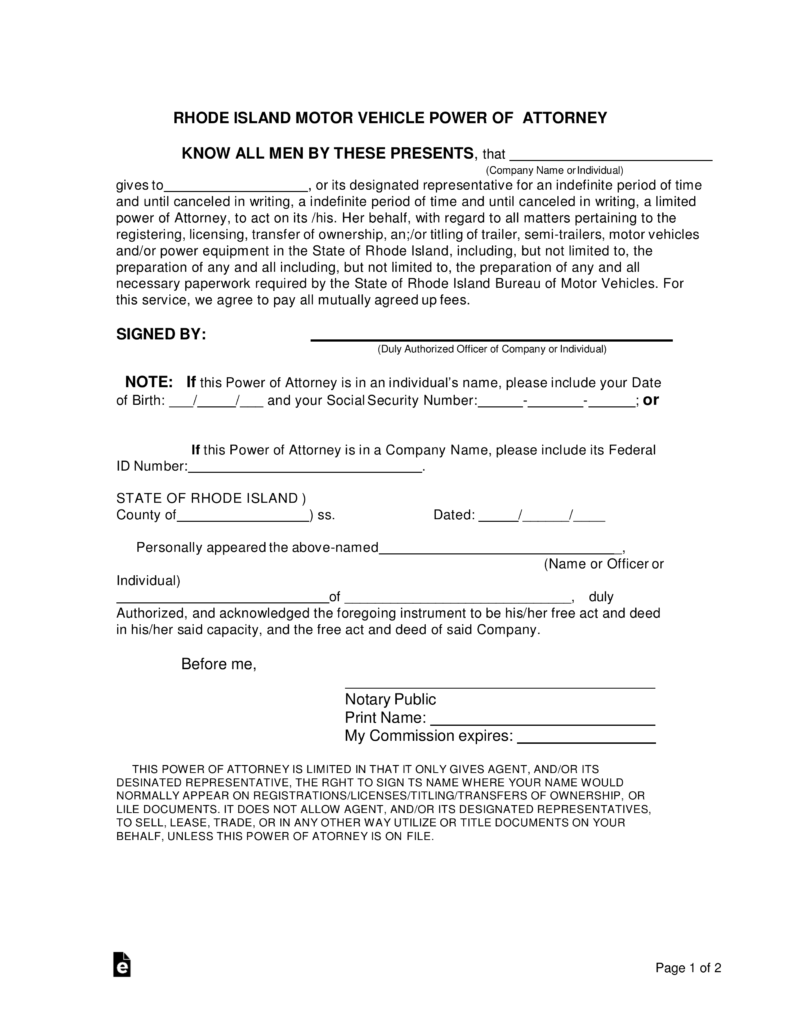 Free rhode island motor vehicle power of attorney form word free rhode island motor vehicle power of attorney form word pdf eforms free fillable forms falaconquin