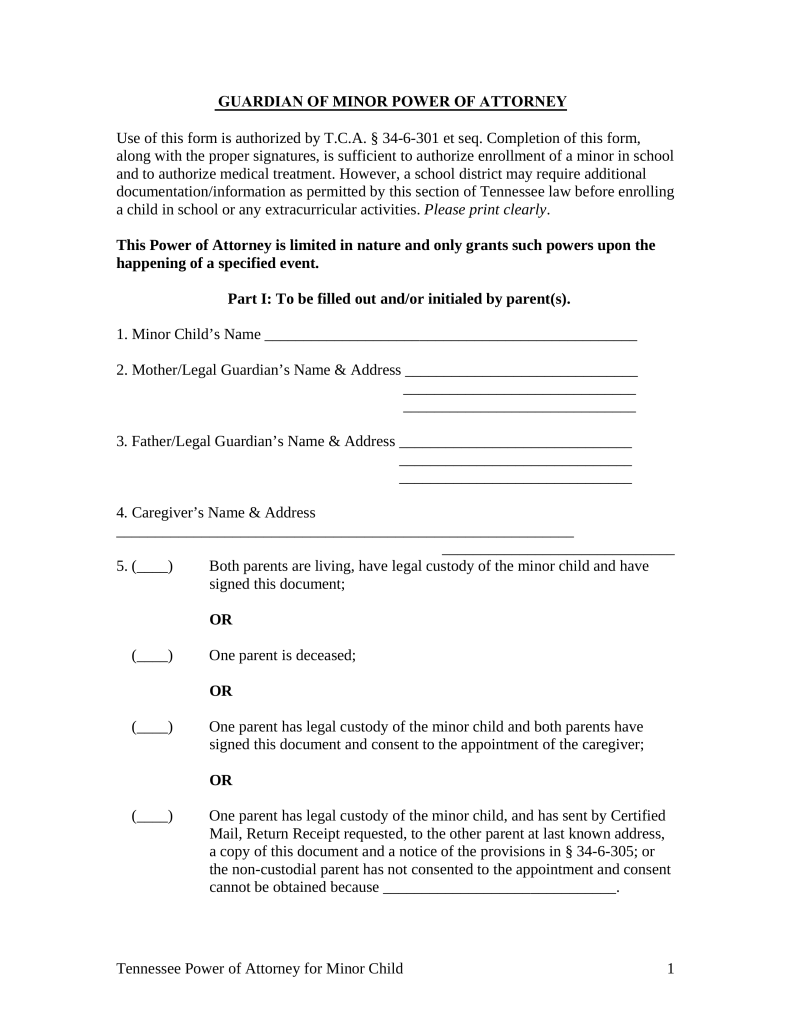 Free Tennessee Guardian of Minor Power of Attorney Form - PDF ...