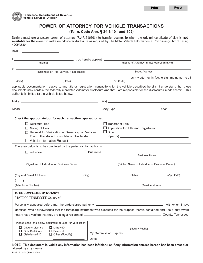Tennessee Motor Vehicle Power Of Attorney Form Rv