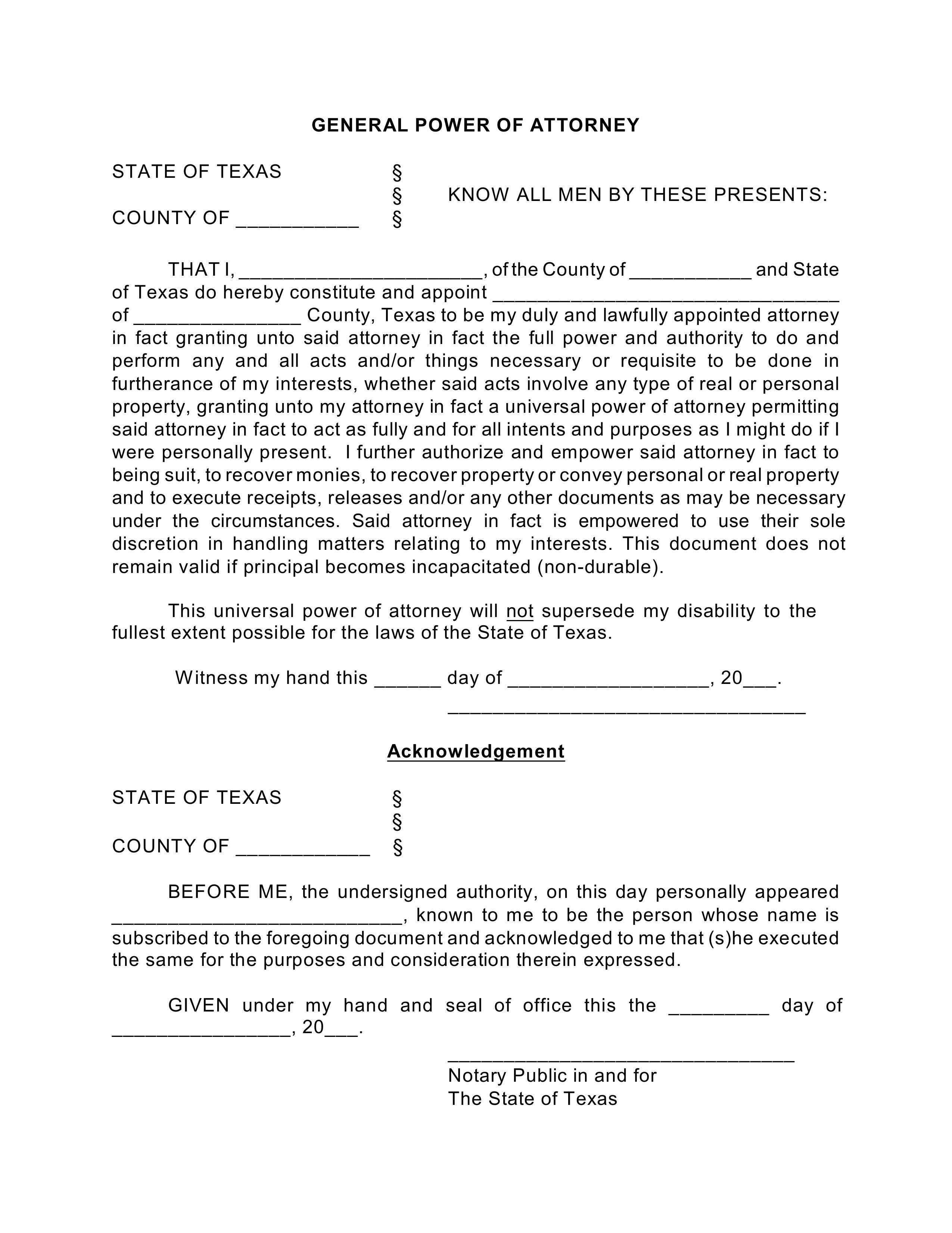 power of attorney form texas  Free Texas General (Financial) Power of Attorney Form - PDF ...