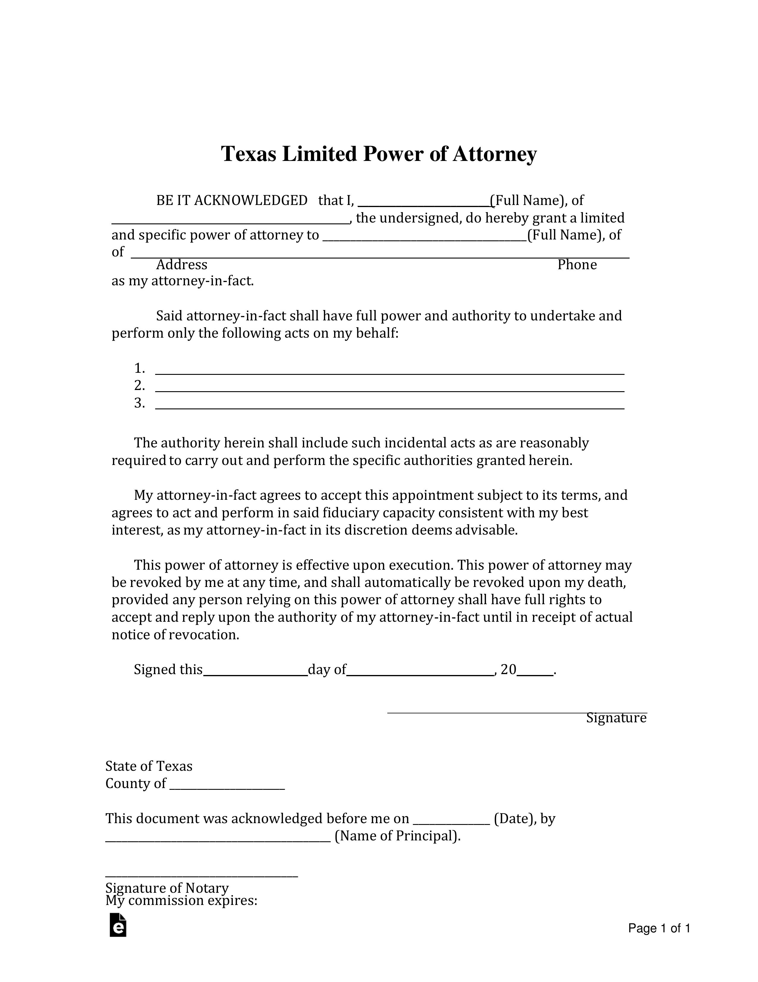 power of attorney form el paso tx  Free Texas Limited Power of Attorney Form - Word | PDF ...