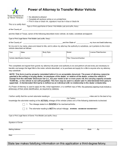 Texas Vehicle Bill Of Sale >> Texas Motor Vehicle Power of Attorney (Form VTR-271 ...