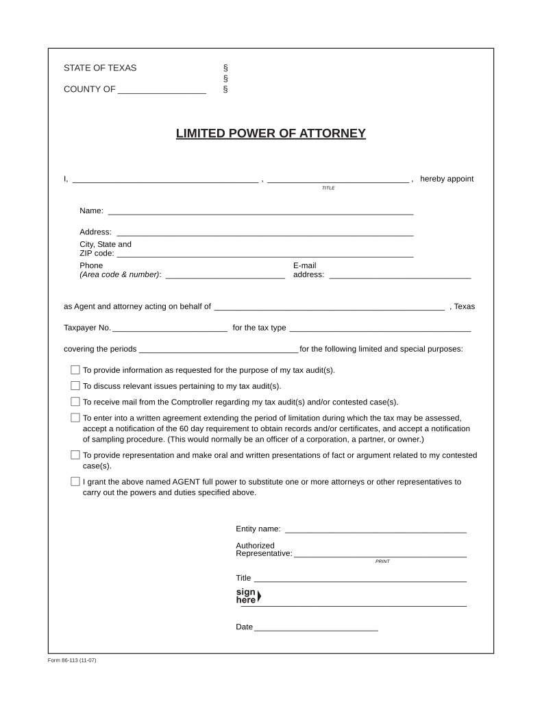 Texas Tax Power Of Attorney (Form 85 113) | EForms U2013 Free Fillable Forms