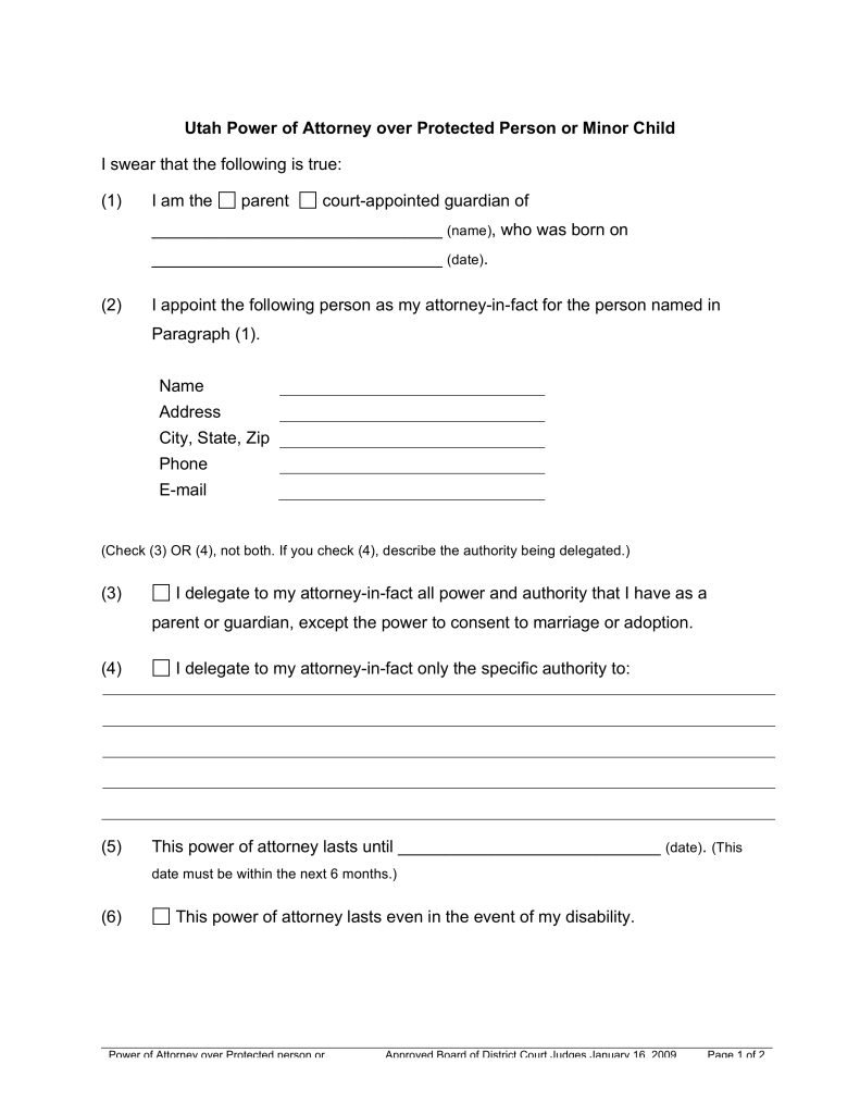 Free Utah Guardian of Minor Power of Attorney Form - PDF | Word ...