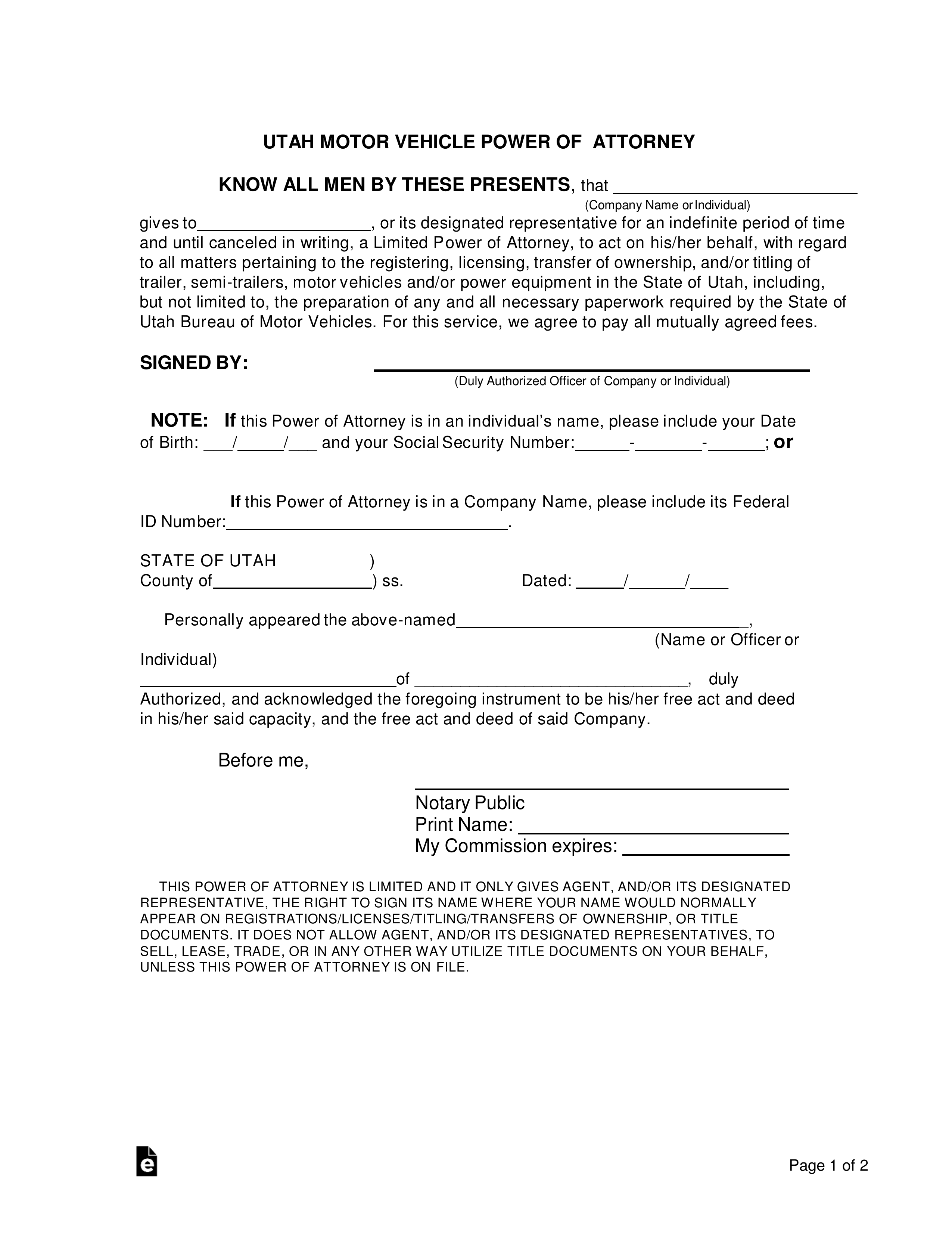 power of attorney form utah  Free Utah Motor Vehicle Power of Attorney Form - Word | PDF ...