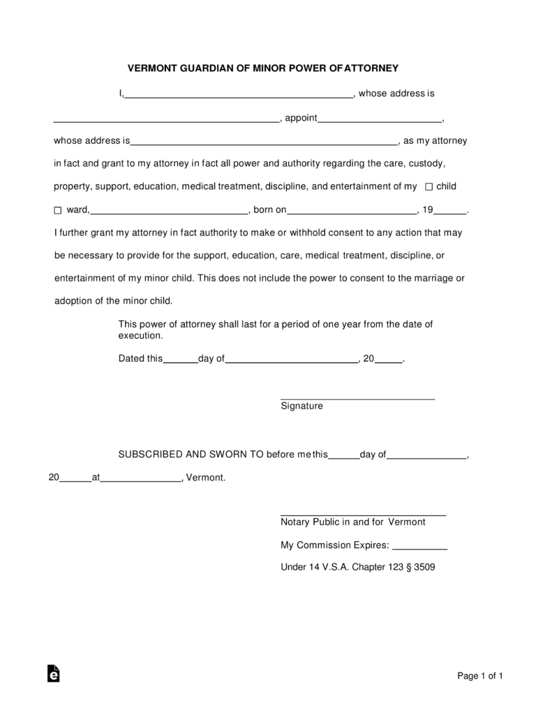 Free Vermont Guardian of Minor Power of Attorney Form - Word | PDF ...
